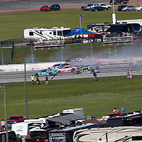 May 07, 2017 - Talladega, Alabama, USA: A massive wreck happens on the backstretch causing Chase Elliott (24) and A.J. Allmendinger (47) to get airborne during the GEICO 500 at Talladega Superspeedway in Talladega, Alabama.