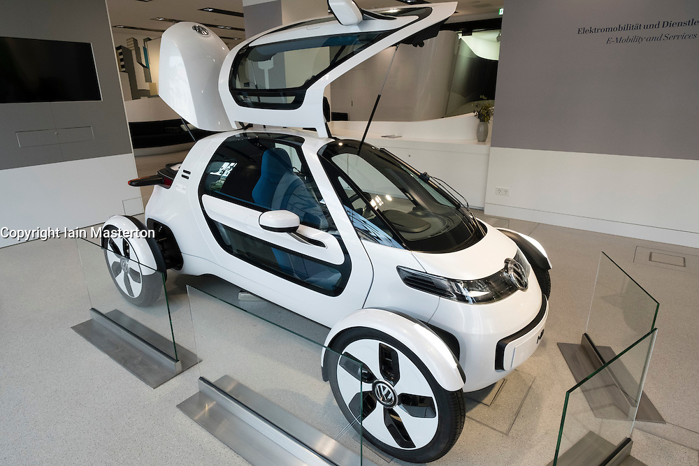 Volkswagen Nils electric concept car on display at Drive Forum showroom in Berlin Germany