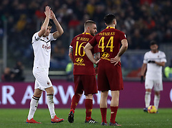 February 3, 2019 - Rome, Italy - AS Roma v AC Milan - Serie A.Krzysztof Piatek of Milan greeting the supporters at Olimpico Stadium in Rome, Italy on February 3, 2018. (Credit Image: © Matteo Ciambelli/NurPhoto via ZUMA Press)