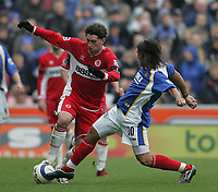 Photo: Lee Earle.<br /> Portsmouth v Middlesbrough. The Barclays Premiership. 15/04/2006. Pompey's Pedro Mendes (R) slides in on Fabio Rochemback.