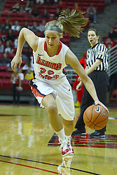 27 March 2011: Katie Broadway during a WNIT (Women's National Invitational Tournament Women's basketball sweet 16 game between the Arkansas Razorbacks and the Illinois State Redbirds at Redbird Arena in Normal Illinois.