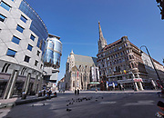 Vienna, Austria. Almost no people are in the city, here at St. Stephen's square, during the first week of a de facto curfew to combat the spread of the Corona Virus SARS Covid-19.