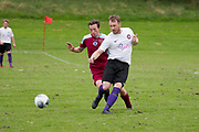 Fintry Athletic (white) v Dryburgh Athletic (maroon) in the Dundee Saturday Morning Football League at Drumgeith