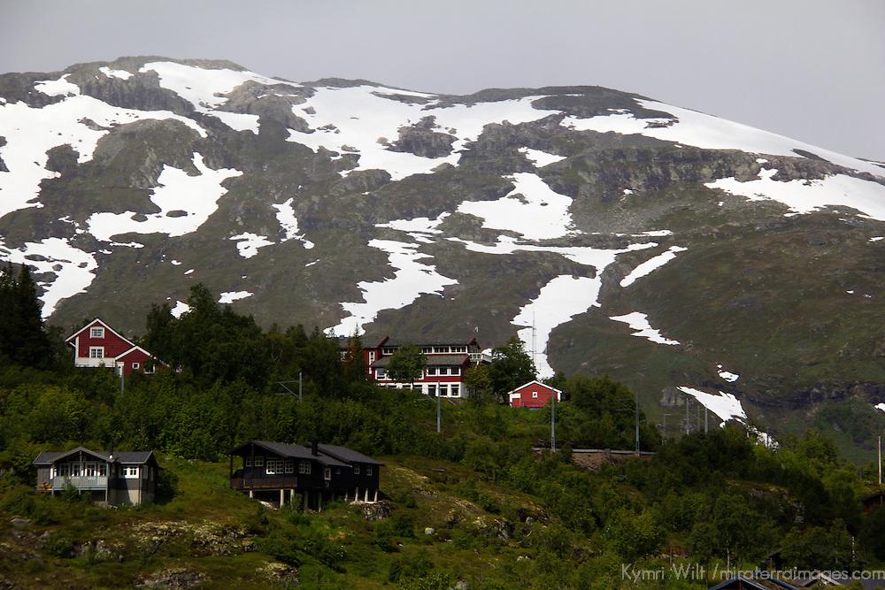 Europe, Norway, Flam. Village along Flam Railway.