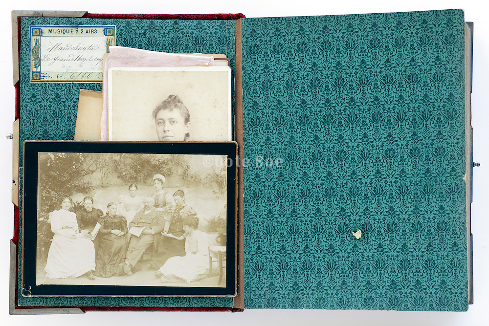 open page of vintage family photo album from late 1800s