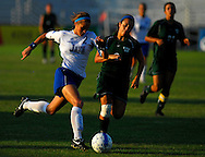 5 JUNE 2010 -- FENTON, Mo. -- Liberty High School's Shea Groom (2) pushes the ball past Pattonville High School's Samantha Zoltanski (9) during the Class 3 championship game at the MSHSAA girls' soccer tournament Saturday, June 5, 2010 at the Anheuser-Busch Center in Fenton, Mo. Photo © copyright 2010 by Sid Hastings.