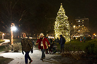 The tree in Stewart Park shines bright to start off the Christmas season following the annual tree lighting with Santa and Mrs. Claus Sunday evening. (Karen Bobotas/for the Laconia Daily Sun)