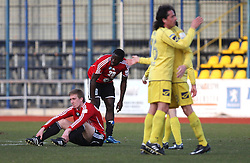 Robert Beric of Interblock and Theophile Ntame dissapointed after 24th round of  Slovenian football first league PrvaLiga Telekom Slovenije match between NK Domzale and NK Interblock, on March 14, 2009, in Domzale, Slovenia. (Photo by Vid Ponikvar / Sportida)