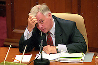 HONG KONG: Former Hong Kong Governor Chris Patten presides over a LEGCO meeting during his last year in office. Patten was the 28th and last  British Governor of Hong Kong from 1992 until the handover on July 1, 1997. During his 5 years in office his most controversial actions related to the election of the Hong Kong Legislative Council. Legco members returned in 1995 were originally to serve beyond the handover, thereby providing institutional continuity across the reversion of Hong Kong to China.  He was fairly popular as a governor and the people in Hong Kong affectionately nicknamed him Fat Pang or Fei Peng, making him the first and only governor to have a Chinese nickname. (Photo by David Paul Morris) ..
