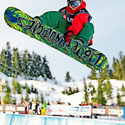 Czech National Snowboard Team member Martin Cernik competes in the half pipe during qualification for the 2009 LG Snowboard FIS World Cup at Cypress Mountain, British Columbia, on February 16th, 2009. Cernik finished 65th in the field of 70.