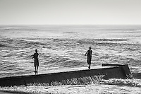 Surf anglers at Umkomazi river mouth. Aliwal Shoal Marine Protected Area. Southern KwaZulu Natal. South Africa