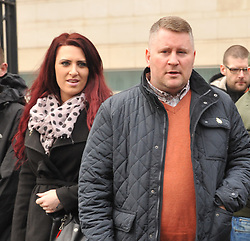 "© Licensed to London News Pictures. 10/1/2018. Belfast, UK. Britain First's leader Paul Golding (R) with deputy leader Jayda Fransen seen leaving court after making his first appearance after being charged with using ""threatening, abusive, insulting words or behaviour"" following a speech he gave at a rally organised by Independent Belfast City Councillor Jolene Bunting last year. Ms Fransen has been criticised after appearing in a video showing her sitting in robes in the Lord Mayor's chair inside Belfast City Hall. The council are investigating.   Photo credit: John Rymer/LNP"