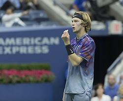 September 6, 2017 - New York, New York, United States - Andrey Rublev of Russia reacts during match against Rafael Nadal of Spain at US Open Championships at Billie Jean King National Tennis Center  (Credit Image: © Lev Radin/Pacific Press via ZUMA Wire)