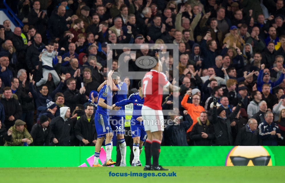 Diego Costa of Chelsea (19) celebrates with John Terry after scoring a equaliser while Memphis Depay of Manchester United stands dejected during the Barclays Premier League match at Stamford Bridge, London<br /> Picture by Alan Stanford/Focus Images Ltd +44 7915 056117<br /> 07/02/2016