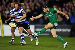 Andrew Fenby of London Irish puts boot to ball - Photo mandatory by-line: Patrick Khachfe/JMP - Mobile: 07966 386802 24/04/2015 - SPORT - RUGBY UNION - Bath - The Recreation Ground - Bath Rugby v London Irish - Aviva Premiership
