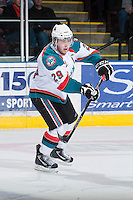 KELOWNA, CANADA - JANUARY 26: Myles Bell #29 of the Kelowna Rockets skates on the ice against the Prince Albert Raiders at the Kelowna Rockets on January 26, 2013 at Prospera Place in Kelowna, British Columbia, Canada (Photo by Marissa Baecker/Shoot the Breeze) *** Local Caption ***