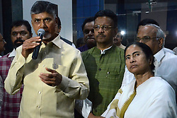 November 19, 2018 - Howrah, West Bengal, India - Andhra Pradesh Chief Minister Chandrababu Naidu (left) meets West Bengal Chief Minister Mamata Banerjee (right) at State Secretariat building Nabanna in Howrah. (Credit Image: © Saikat Paul/Pacific Press via ZUMA Wire)