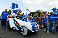Catwalk Kid of the Game Jack Wells rides in with the UK team before their game at Kroger Field in Lexington, Ky., Saturday, Sept. 7, 2019.