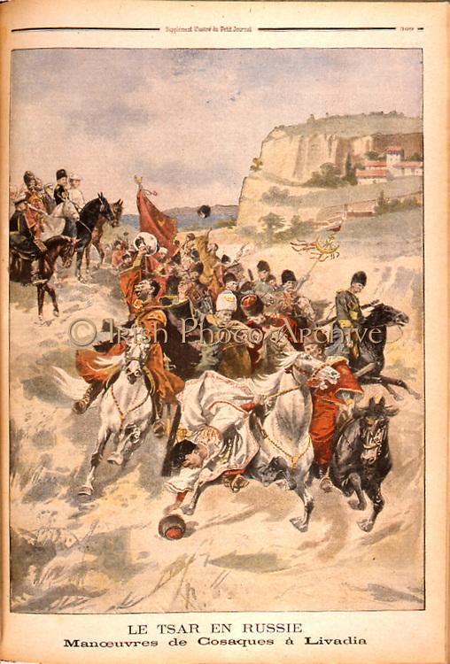 Tsar Nicholas II of Russia watching Cossack manoevers at Livadia.  From  'Le Petit Journal', Paris, 29 September 1901.