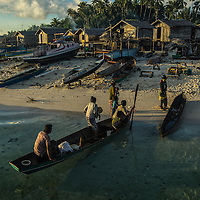Sea Gypsies family arrived at Mabul Island in Semporna, Sabah state of Malaysia.