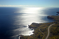 Aerial view of Highway 61 winding along Minnesota's Lake Superior North Shore.