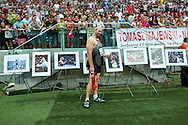 Warsaw, Poland - 2016 August 28: Tomasz Majewski poses with Photo Exhibition of Tomasz Majewski during athletics meeting Kamila Skolimowska Memorial 2016 at PGE National Stadium  August 28, 2016 w Warsaw, Poland.<br /> <br /> Adam Nurkiewicz declares that he has no rights to the image of people at the photographs of his authorship.<br /> <br /> Picture also available in RAW (NEF) or TIFF format on special request.<br /> <br /> Any editorial, commercial or promotional use requires written permission from the author of image.<br /> <br /> Mandatory credit:<br /> Photo by © Adam Nurkiewicz