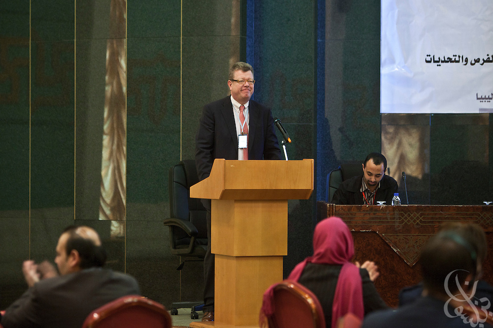 Dr. Ronald Meinardus, Regional Director of the Friedrich Naumann Foundation for Liberty (FNF) addresses the participants of an FNF sponsored conference on Liberalism and civic state building in Benghazi, Libya December 17, 2011.  (Photo by Scott Nelson, for Der Spiegel)