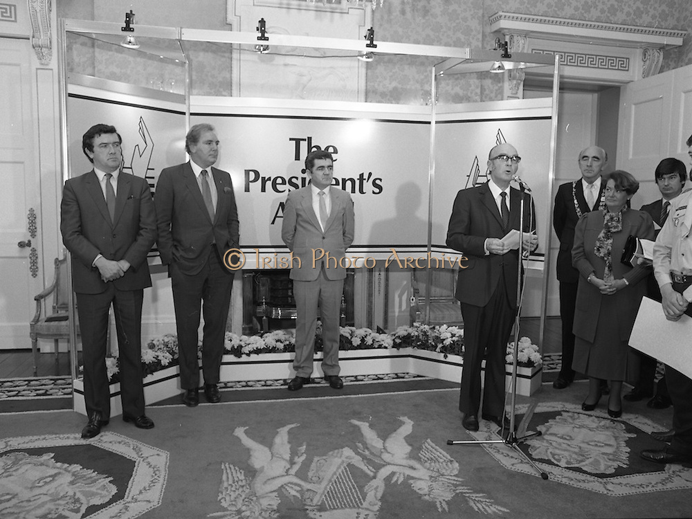 28/10/1985<br /> 10/28/1985<br /> 28 October 1985<br /> Launch of Gaisce The Presidents Award at Aras an Uachtarain. President Dr. Patrick Hillery launched the new national youth award scheme to be the nations highest award to Irish young people aged 15-25. Picture shows President Hillery speaking at the launch. Dr. Tony O'Reilly, Chairman of the Management Committee is 2nd left.