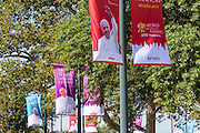 Philadelphia, Pennsylvania - September 16, 2015: Banners of Pope Francis circle Eakins Oval, where the pontiff will address crowds of thousands during his visit to Philadelphia.<br /> <br /> Scott Mirkin's company ESM is heading the production of The World Meeting Of Families and Pope Francis's visit to Philadelphia this Fall. The events will take place along the Benjamin Franklin Parkway.<br /> <br /> CREDIT: Matt Roth for The New York Times<br /> Assignment ID: 30179397A