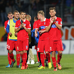 24.09.2014, Voith Arena, Heidenheim, GER, 2. FBL, 1. FC Heidenheim vs 1. FC Nuernberg, 7. Runde, im Bild Philip Heise (1.FC Heidenheim) Marcel Titsch-Rivero (1.FC Heidenheim) Florian Niederlechner (1.FC Heidenheim) bedanken sich bei den Fans // during the 2nd German Bundesliga 7th round match between 1. FC Heidenheim and 1. FC Nuernberg at the Voith Arena in Heidenheim, Germany on 2014/09/24. EXPA Pictures © 2014, PhotoCredit: EXPA/ Eibner-Pressefoto/ Langer<br /> <br /> *****ATTENTION - OUT of GER*****