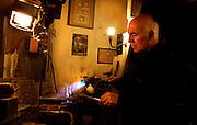 Dans son atelier parisien, le 12 janvier 2011, l'orfèvre Goudji révèle et explique les outils les plus familiers de son art. Nait en Géorgie en 1941, Goudji vit à Paris depuis 1974 sur intervention personnelle du Président de la République Georges Pompidou, où il produit sa création d'orfèvre contemporain. Ses oeuvres sont innombrables tant en Art d'Eglise, Epées, Bijoux que sculptures diverses. In his Parisian studio, on 12th January 2011, goldsmith Goudji demonstrates and explains the  most familiar tools of his trade. Born in Georgia in 1941, Goudji has lived in Paris since 1974, due to the personal intervention of  President Georges Pompidou.  Here he produces his numerous contemporary works of goldsmithery in  such widely differing fields as Church Art, swords, jewellery and sculpture. Picture by Manuel Cohen