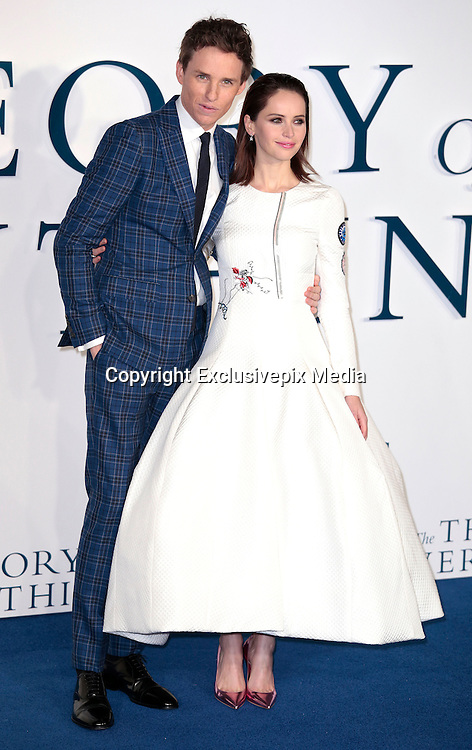 "Dec 9, 2014 - ""The Theory Of Everything"" - UK Premiere - Red Carpet Arrivals at Odeon,  Leicester Square, London<br /> <br /> Pictured: Felicity Jones; Eddie Redmayne<br /> ©Exclusivepix Media"