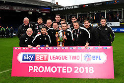Luton Town manager Nathan Jones and his coaching staff celebrate  - Mandatory by-line: James Healey/JMP - 28/04/2018 - FOOTBALL - Kenilworth Road - Luton, England - Luton Town v Forest Green Rovers - Sky Bet League Two