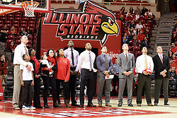 05 December 2015: Illinois State Redbird Basketball coaches and Athletic Director stand with the family of Torrey Ward watching a commemoration video on the scoreboard. Illinois State Redbirds host the University of Alabama - Birmingham Blazers at Redbird Arena in Normal Illinois (Photo by Alan Look)