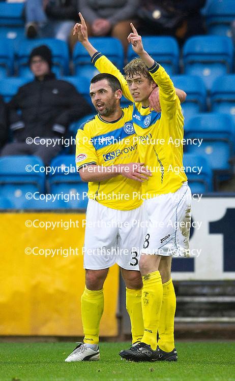 Kilmarnock v St Johnstone..24.11.12      SPL<br /> Murray Davidson celebrates his goal with Callum Davidson<br /> Picture by Graeme Hart.<br /> Copyright Perthshire Picture Agency<br /> Tel: 01738 623350  Mobile: 07990 594431