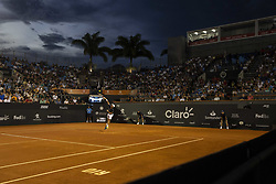 RIO DE JANEIRO, Feb. 24, 2019  Pablo Cuevas of Uruguay serves during the men's singles semifinal between Felix Auger-Aliassime of Canada and Pablo Cuevas of Uruguay at the Rio open 2019 tournament in Rio de Janeiro, Brazil, on Feb. 23, 2019. (Credit Image: © Xinhua via ZUMA Wire)