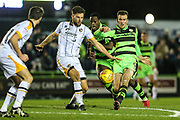 Forest Green Rovers Christian Doidge(9) shoots at goal during the EFL Sky Bet League 2 match between Forest Green Rovers and Port Vale at the New Lawn, Forest Green, United Kingdom on 6 January 2018. Photo by Shane Healey.