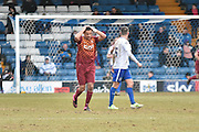 Bradford City Defender, James Meredith sees another Bradford miss during the Sky Bet League 1 match between Bury and Bradford City at the JD Stadium, Bury, England on 5 March 2016. Photo by Mark Pollitt.