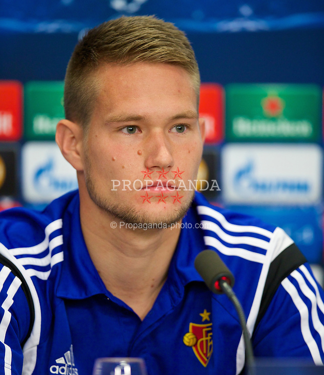 BASEL, SWITZERLAND - Tuesday, September 30, 2014: FC Basel's goalkeeper Tomas Vaclik during a press conference at the St. Jakob Stadium ahead of the UEFA Champions League Group B match against Liverpool. (Pic by David Rawcliffe/Propaganda)