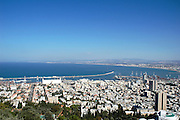 Haifa, Israel, Bay of Haifa, and Israels biggest port as seen from mount Carmel November 2005