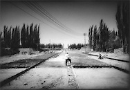 Available arable land is even on the decline in the far west in Chinese Turkestan where a Han Chinese worker works on a road widened to make room for migration of the dominant Han Chinese to Kashgar in Turkic Uighur oases of Chinese Turkestan, Kashgar