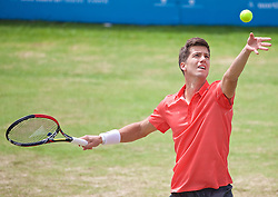 LIVERPOOL, ENGLAND - Sunday, June 21, 2015: Aljaz Bedene (GBR) during Day 4 of the Liverpool Hope University International Tennis Tournament at Liverpool Cricket Club. (Pic by David Rawcliffe/Propaganda)