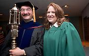 18276Undergraduate Commencement 2007....Sergio Lopez-Permouth & Nicole Alvey with The Ceremonial Mace.