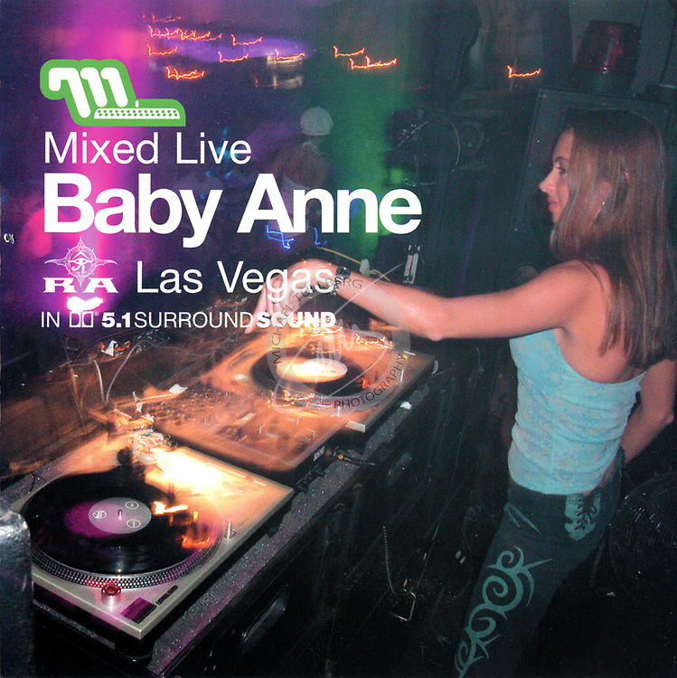 """CD Cover for DJ Baby Anne's """"Mixed Live"""" album in Las Vegas, from Moonshine Music."""