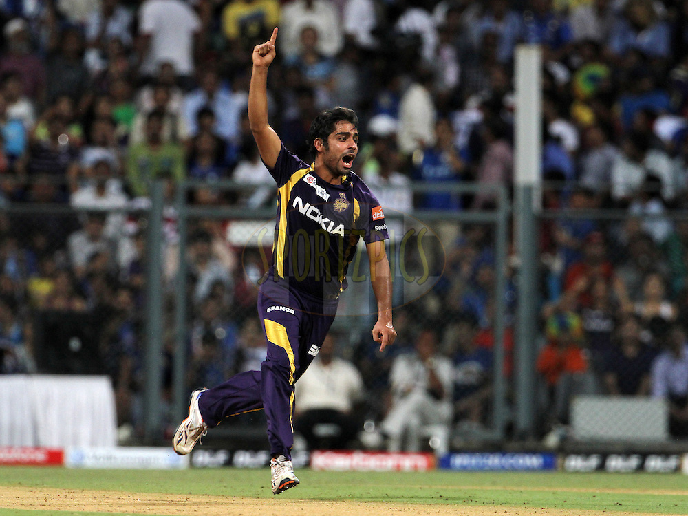 Kolkatta Knight Riders player Iqbal Abdulla celebrates after taking a wicket during match 65 of the Indian Premier League ( IPL) 2012  between The Mumbai Indians and the Kolkata Knight Riders held at the Wankhede Stadium in Mumbai on the 16th May 2012..Photo by Vipin Pawar/IPL/SPORTZPICS.