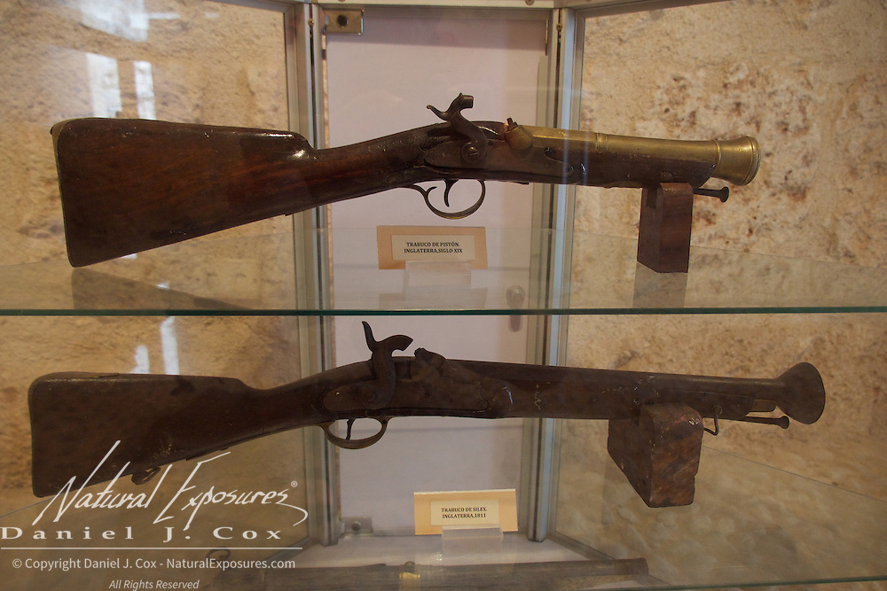 Old Spanish muskets on display at the Morro Castle museum, Havana, Cuba.