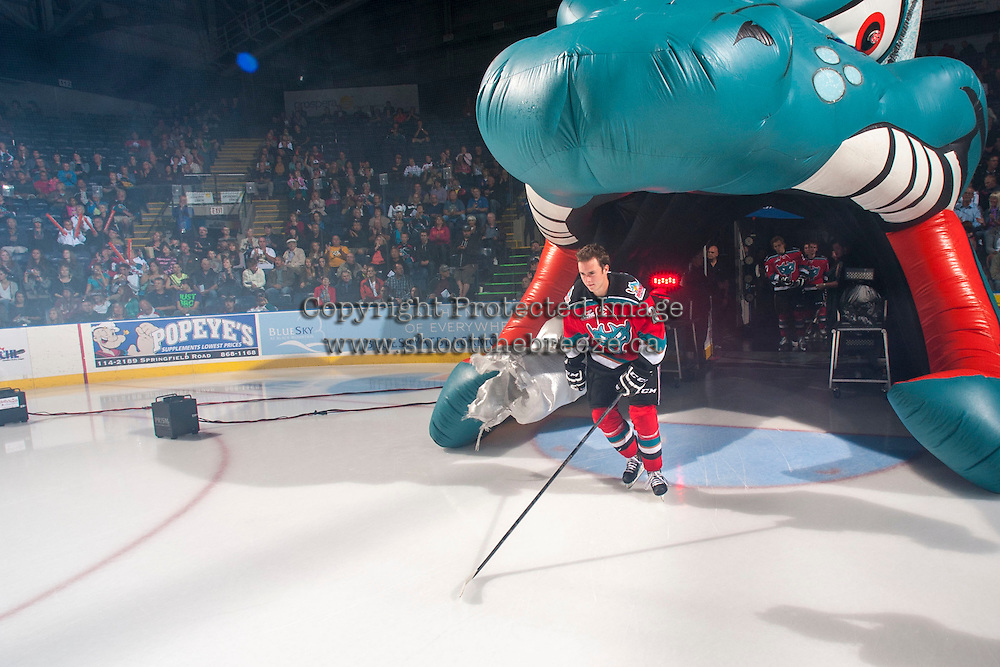 KELOWNA, CANADA - SEPTEMBER 21:  Cole Linaker #26 of the Kelowna Rockets enters the ice during the regular season home opener against the Kamloops Blazers at the Kelowna Rockets on September 21, 2013 at Prospera Place in Kelowna, British Columbia, Canada (Photo by Marissa Baecker/Shoot the Breeze) *** Local Caption ***