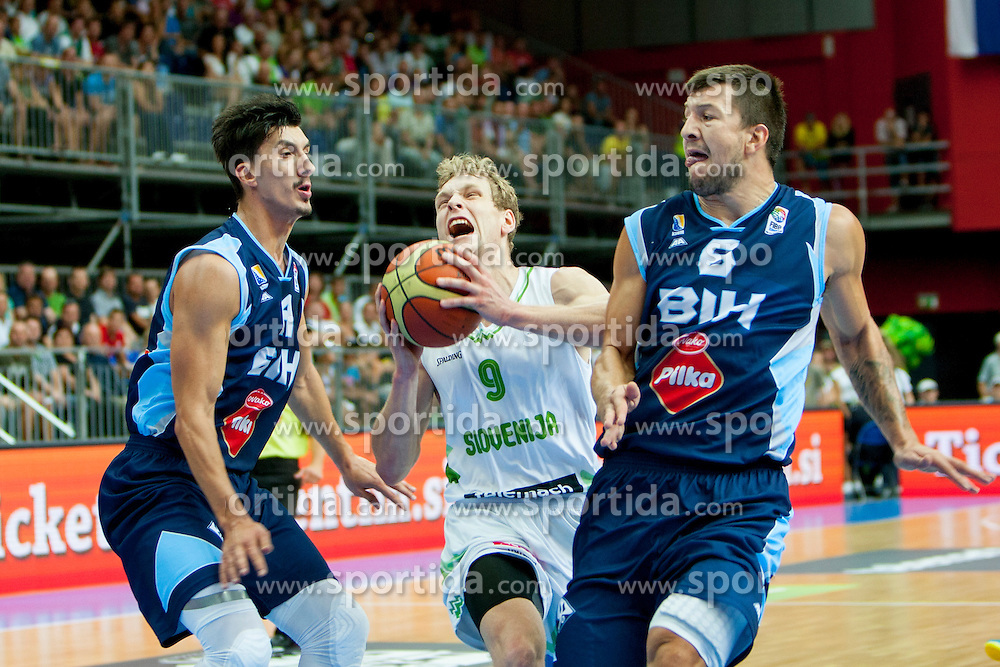 Jaka Blazic of Slovenia during friendly match between National teams of Slovenia and Bosnia and Herzegovina for Eurobasket 2013 on August 16, 2013 in Podmezakla, Jesenice, Slovenia. (Photo by Urban Urbanc / Sportida.com)
