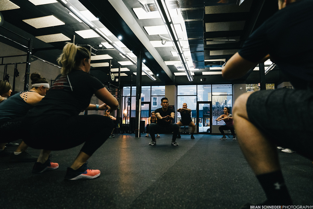 Dec 5, 2017; Baltimore, MD, USA; SEYA coaches, owners, staff and members participate in a photo shoot for Square at the SEYA CrossFit and Wellness Center.
