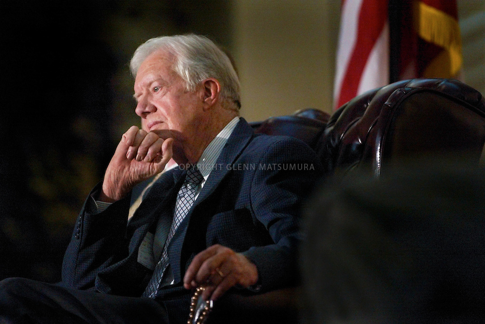 """James """"Jimmy"""" Carter, Jr. (born October 1, 1924) served as the 39th President of the United States from 1977 to 1981 and was the recipient of the 2002 Nobel Peace Prize. He was the only U.S. President to receive the Prize after leaving office."""